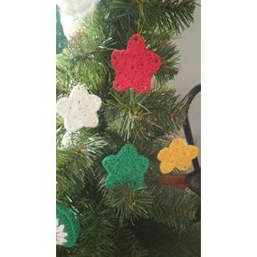 Adorno Arbol De Navidad Estrellas X12. Tejidas Al Crochet