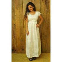 Vestido Longo Branco Indiano Lese Casual Em Algodão