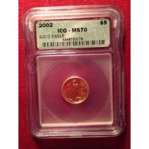 U S A Moneda Oro Certificada Ms70 Icg 2002 Gold Eagle5$