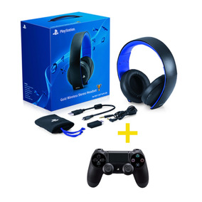 Headset Sony Wireless Stereo Gold + Controle Dualshock 4