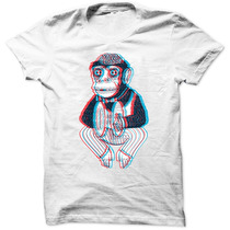 Camiseta Macaco Pratos Engraçada Desenho Camisa Masculina
