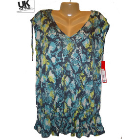 Blusa Top M Mediana Uk French Sears Azul Hermosa Tunica Moda