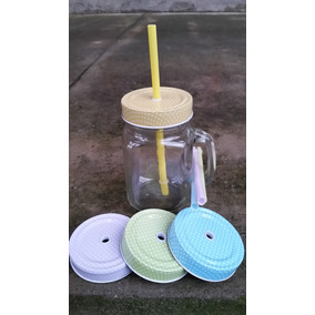 1 Caneca Jarra Mason Jar + 4 Canudos E 4 Tampas Diferentes