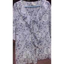 Camisola Blusa Tl Con Volados Gasa Blanco C/flores Azulinas