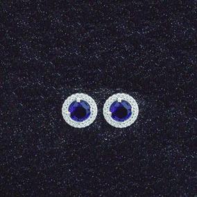 Brinco Zircônia Azul Em Prata 925