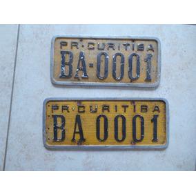 Placa De Carro Amarela 0001 Rara