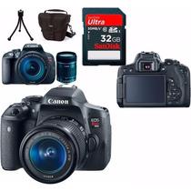 Câmera Canon Eos T6i+18-55+bolsa+tripé+32gb+parasol Em Sp