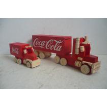 Trailer Y Camion Coca Cola - Camioncito De Madera Escala