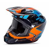 Capacete Fly Kinetic Infantil Motocross E Bicicross Laranja
