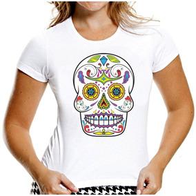 Camiseta Baby Look Caveiras Mexicanas Sugar Skull Mod 11