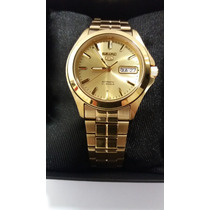 Relógio Seiko 5 Automático Dourado Snkk98b1+frete