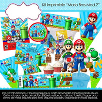 Kit Imprimible Fiesta Niño Bolo Piñata Mario Bros Regalo