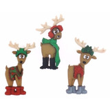 Navidad Botones Figura Renos Para Decorar Toallas, Bufanda