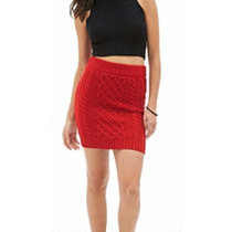Forever 21...falda Roja Tejido De Punto...hermosa