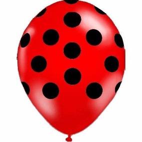 Balão Latex Bexiga Poá Vermelho - Pct 25 Balões