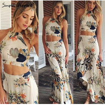 Conjunto Feminino Top Cropped Saia Longa Floral Verao 2017
