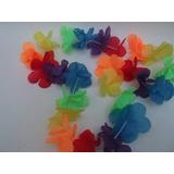 Collar Hawaiano Flores Tela Multicolor Cotillón X 10 U