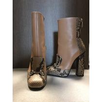 Gucci Botas Botines Zapatos Piel Beige Vibora Originales T38