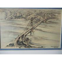 Antiguo Dibujo En Tinta Del Golde Gate En San Francisco