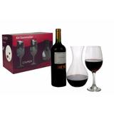 Decantador De Vino + 4 Copas Vidrio En Caja Calidad