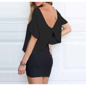 Bellisima Blusa Negra Con La Espalda Descubierta