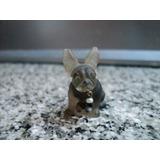 Antiguo Dije Miniatura Bulldog Frances Collar Oro Vintage