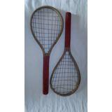 Antiguo Juego Tenis Raquetas Para Niños De Madera 40 Largo