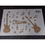 Painel Música Mdf Cru 3mm Notas Musicais Guitarra P21