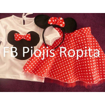 Sets Conjunto Minnie Disfraz 3p Remera Pollera Vincha Orejas