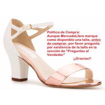 Zapatillas Andrea Bajas Tacón Ancho Blanco Oro Rosa 239-2820