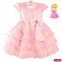 Vestido Princesa Minnie Rosa Aurora Luxo Infantil Tam 1 Ao 3