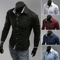 Camisa Ou Blusa Social Com Manga Comprida Luxo Masculina
