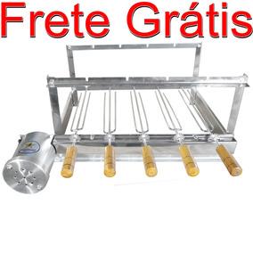 Churrasqueira Kit Giratória Grill Gira 5 Espetos + Brinde