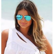 Oculos Feminino Aviador Espelhado Verde Azul Prata Vermelho