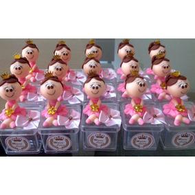 Boneca De Biscuit Rosa Com Dourado - Caixa Com 15 Peças