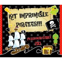 Kit Imprimible Piratas Premiu, Editable Y Personalizable 2x1