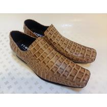 Zapatos Mocasin Croco Priamo Italy Hombre Único Par Nuevos