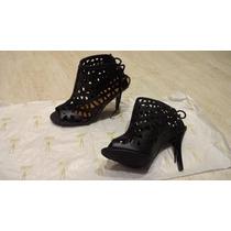 Ankle Boots Vazada (vizzano) Peep Toe Bota Vazada Salto Alto