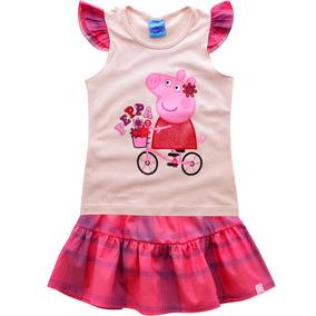 Conjunto Blusa Short-saia Peppa De Bicicleta Malwee