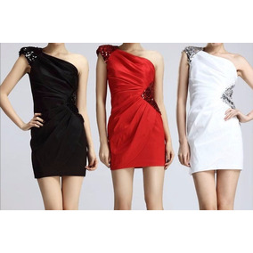 Vestido Negro Corto De Fiesta Rojo Blanco Boda Quinceaños