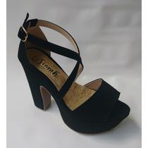 Zapato Tacon Mujer Plataforma Negra Calzado Moda Envió Grati