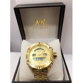 Relógio Masculino Original Marinus Dourado Ponteiros Digital