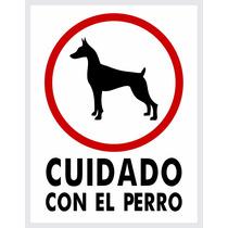 Letreros 8pzas Cuidado Con El Perro - 23x30cm Poliestireno -
