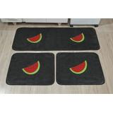 Kit 3 Tapetes Para Cozinha Pelúcia Melancia Retangulares