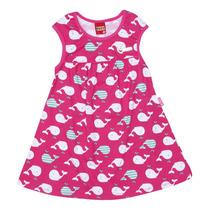 Vestido Infantil Kyly (estampa Baleias / Rosa)