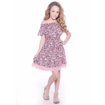 Vestido Fanyland Ciganinha Floral Viscose Com Renda