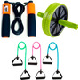 Kit Funcional Roda Exercício + Corda C/ Contador + Elástico