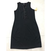 Vestido Negro Escote Profundo Busto Midi Listones Plata S