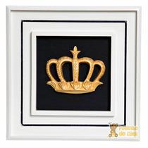 Quadrinho/ Porta Maternidade Coroa G Dourada Em Resina