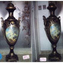 Par De Potiches Napoleônico Em Porcelana Francesa Bronze